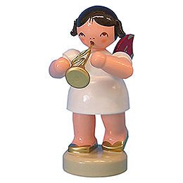 Angel with Flugelhorn - Red Wings - Standing - 6 cm / 2,3 inch
