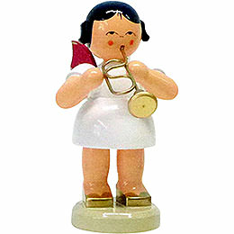 Angel with Flugelhorn - Red Wings - Standing - 9,5 cm / 3.7 inch