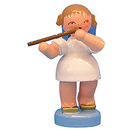 Angel with Flute - Blue Wings - Standing - 6 cm / 2,3 inch