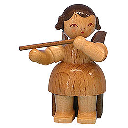 Angel with Flute - Natural Colors - Sitting - 5 cm / 2 inch