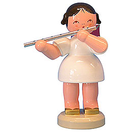 Angel with Flute - Red Wings - Standing - 9,5 cm / 3,7 inch