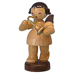 Angel with French Horn - Natural Colors - Standing - 6 cm / 2,3 inch