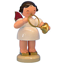 Angel with French Horn - Red Wings - Standing - 9,5 cm / 3,7 inch