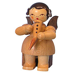 Angel with Gemshorn - Natural Colors - Sitting - 5 cm / 2 inch