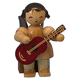 Angel with Guitar - Natural Colors - Sitting - 5 cm / 2 inch