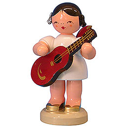 Angel with Guitar - Red Wings - Standing - 9,5 cm / 3,7 inch