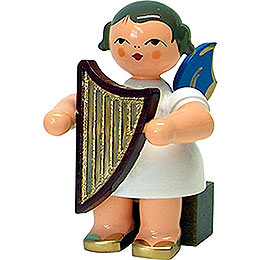 Angel with Lyre - Blue Wings - Sitting - 5 cm / 2 inch