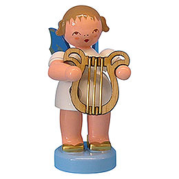 Angel with Lyre - Blue Wings - Standing - 6 cm / 2,3 inch