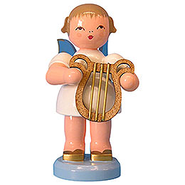 Angel with Lyre - Blue Wings - Standing - 9,5 cm / 3,7 inch