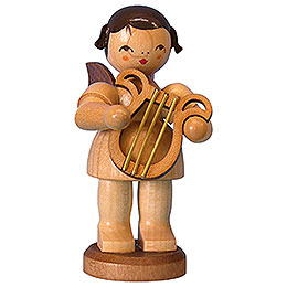 Angel with Lyre - Natural Colors - Standing - 9,5 cm / 3,7 inch