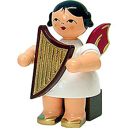 Angel with Lyre - Red Wings - Sitting - 5 cm / 2 inch