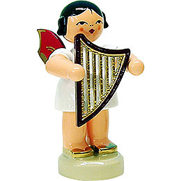 Angel with Lyre - Red Wings - Standing - 6 cm / 2.3 inch