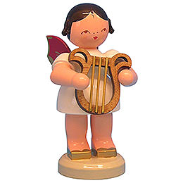 Angel with Lyre - Red Wings - Standing - 9,5 cm / 3,7 inch