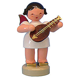 Angel with Mandolin - Red Wings - Standing - 6 cm / 2,3 inch