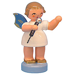 Angel with Microphone - Blue Wings - Standing - 6 cm / 2,3 inch