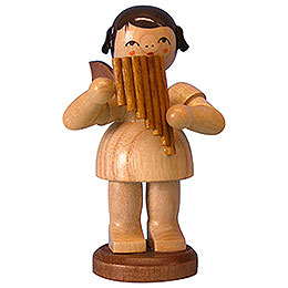 Angel with Pan Pipe - Natural Colors - Standing - 9,5 cm / 3,7 inch
