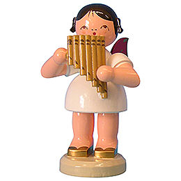 Angel with Pan Pipe - Red Wings - Standing - 9,5 cm / 3,7 inch