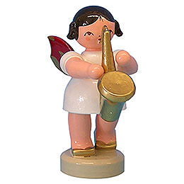 Angel with Saxophone - Red Wings - Standing - 6 cm / 2,3 inch