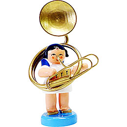 Angel with Sousaphone - Blue Wings - Standing - 6 cm / 2.3 inch