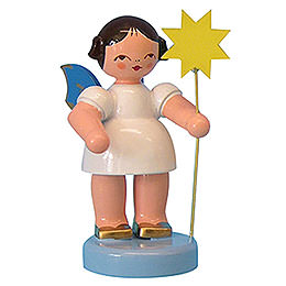 Angel with Star - Blue Wings - Standing - 6 cm / 2,3 inch