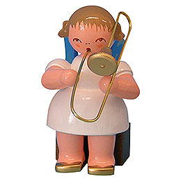 Angel with Trombone - Blue Wings - Sitting - 5 cm / 2 inch