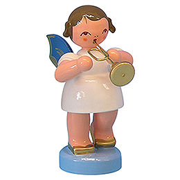 Angel with Trumpet - Blue Wings - Standing - 6 cm / 2,3 inch