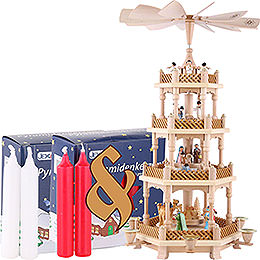 Bundle - 4-Tier Pyramid Nativity Scene Painted plus two packs of candles red/white