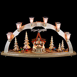 Candle Arch - Christmas Forest with Advent House, Electrically Driven - 80x41 cm / 31.5x16 inch