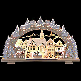 Candle Arch - Christmas Time with Sledding Child and Dog - 53x31x4,5 cm / 21x8x1.8 inch
