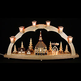 Candle Arch - Church of Seiffen with Pyramid - 40x80 cm / 15.7x31.5 inch