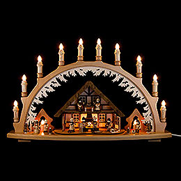 Candle Arch - Ore Mountain House with Winter Children - 66x43 cm / 26x16.9 inch