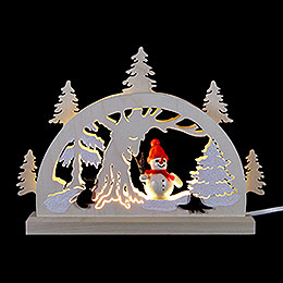 Candle Arch - Snowman in the Forest - 23x15x4,5 cm / 9x5.9x1.7 inch