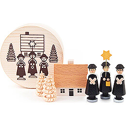 Carolers black in Wood Chip Box - 4 cm / 1.6 inch