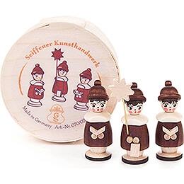 Carolers natural in Wood Chip Box - 3,5 cm / 1.4 inch