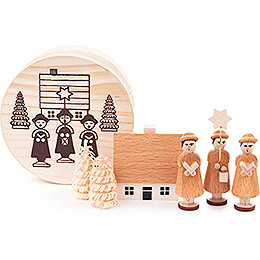 Carolers natural in Wood Chip Box - 4 cm / 1.6 inch