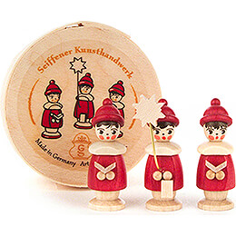 Carolers red in Wood Chip Box - 3,5 cm / 1.4 inch