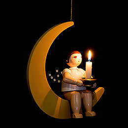 Christmas Angel on Moon with Socket for Candle Or Lumix LED - 30 cm / 11.8 inch