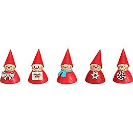 Christmas-Teeter, Set of Five, 4 cm / 1.6 inch