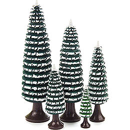 Coiled Trees with Trunk Green-White - 5 pieces - 12 cm / 4.7 inch