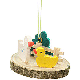 Easter Ornament - Duck on Tree Slice - 4,2 cm / 1.7 inch