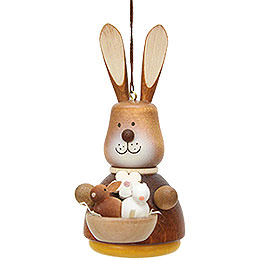 Easter Ornament - Teeter Bunny with Babys Natural - 9,8 cm / 3.9 inch