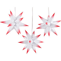 Erzgebirge-Palace Moravian Star Set of Three - White-Red - incl. Lighting - 17 cm / 6.7 inch