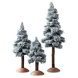 Fir Tree with Snow and Trunk, Set of Three - 17 cm / 6.7 inch