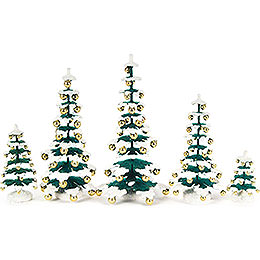 Fir Trees with Golden Baubles - 5 pieces - 15 cm / 5.9 inch