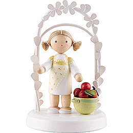 Flax Haired Children - Birthday Child with Apples - 7,5 cm / 3 inch