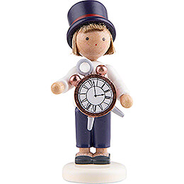 Flax Haired Children Boy with Alarm Clock - 5 cm / 2 inch
