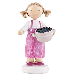 Flax Haired Children Girl with Blackberries - 5 cm / 2 inch