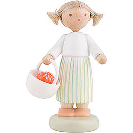 Flax Haired Children Girl with Easter Basket - 5 cm / 2 inch