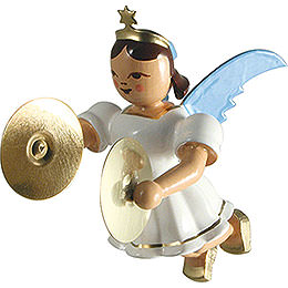 Floating Angel with Cymbals, Colored - 6,6 cm / 2.6 inch