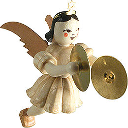 Floating Angel with Cymbals, Natural - 6,6 cm / 2.6 inch